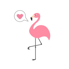 Pink flamingo on one leg. Talk think bubble with heart. Exotic tropical bird. Zoo animal collection. Cute cartoon character. Decoration element. Flat design. White background. Isolated.