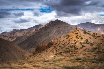 Himalayan mountain landscape along Manali - Leh National Highway in Ladakh, Jammu and Kashmir state, India.