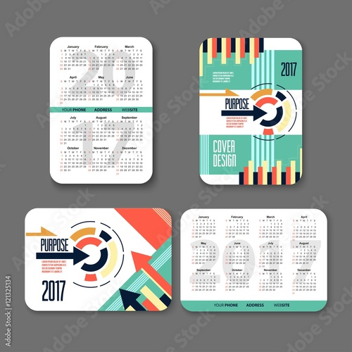 Template Design Pocket Calendar 2017 Colorful For Business Vector