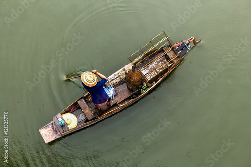 Top view of fishing boat in river stock photo and for Best river fishing boat