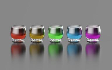 Kolorowy winiak w kieliszkach