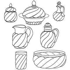 Pottery line hand drawing vector set