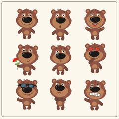Vector set isolated emotion teddy bear. Collection cute bears in cartoon style.