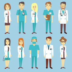 Doctors nurses medical staff people vector characters in flat style