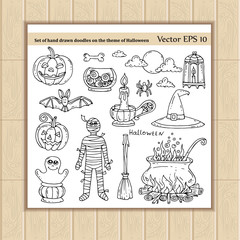 Vector set of hand drawn doodles on the theme of Halloween