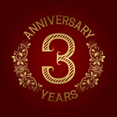 Golden emblem of third anniversary. Celebration patterned sign on red.