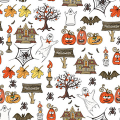Vector seamless hand drawn pattern with isolated Halloween symbols