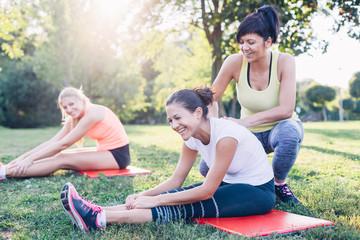 Women stretching workout