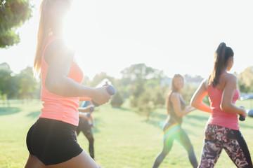 Closeup of beautiful women group exercise