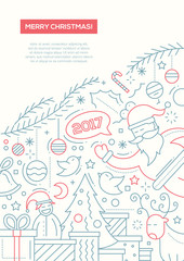 Merry Christmas - line design brochure poster template A4
