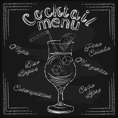 White chalk lettering Cocktail menu with glass drawing on bla