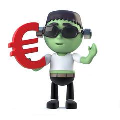 3d Child frankenstein monster holds Euro currency symbol