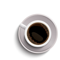White isolated coffee cup with realistic shadow