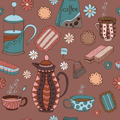 Seamless pattern with biscuits, marmalade, mugs and teapots.