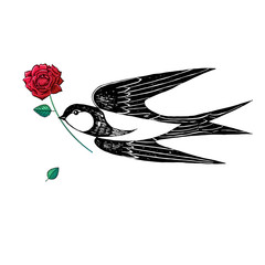 Swallow with red rose, drawing