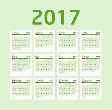 Calendar 2017- green