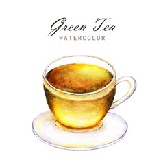 Hand-drawn watercolor illustration of the tea. Cup of the green tea isolated on the white background.