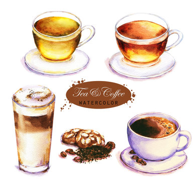 Hand-drawn watercolor illustration of the tea and coffee. Cup of the black and green tea, coffee espresso and latte isolated on the white background.