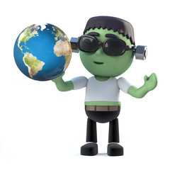 3d Child frankenstein monster holding a globe of the Earth