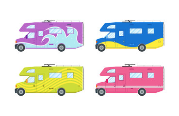Modern flat camper van set. Car for family travel. Concept of outdoor recreation and travel around the world. Poster, card, leaflet or banner template design with place for text. Vector illustration