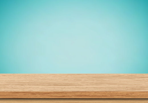 Wood table top on blue background, Use as product display montage - Vector