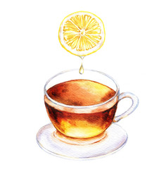 Hand-drawn watercolor illustration of the tea. Cup of the lemon tea, juicy sliced lemon isolated on the white background.
