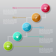 Five steps infographics. Infographic timeline template can be used for chart, diagram, web design, workflow layout