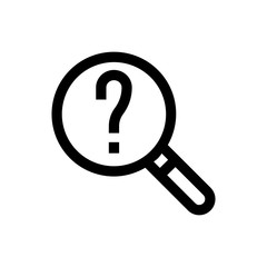 Question, magnifier  line icon.