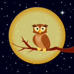 illustration owl sitting on branch on background of the full moon
