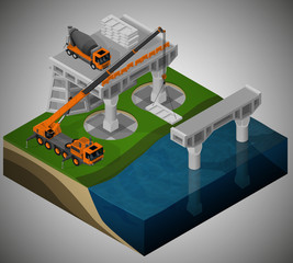 Vector isometric illustration of road construction of a bridge and machinery involved. Pouring the foundation, installation of support using cement mixer and mobile crane.