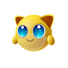 Cute animal emoji with big eyes, cartoon character, isolated background