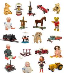 altes antikes spielzeug, puppe, eisenbahn, teddy, blechspielzeug, vintage tin toy doll