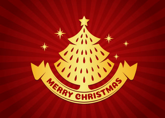 Merry Christmas and happy new year card - Gold Christmas tree and ribbon on red light background vector design
