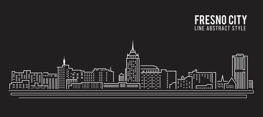 Cityscape Building Line art Vector Illustration design - Fresno city