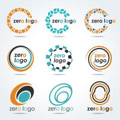 circle zero logo for business vector set design