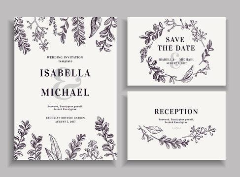 Invitation, save the date, reception card.