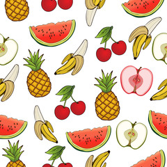 Banana, apple, pineapple, cherry, watermelon, seamless pattern, fruit background. Drawing  on a white , cartoon, hand-. For the design of the fabric, print, wallpaper, wrapping