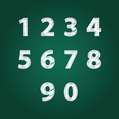 Numbers Design Collection. Textured fonts. Vector.