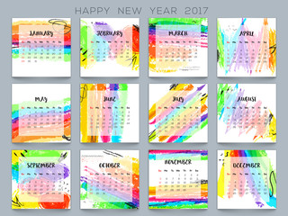 Colorful Yearly Calendar for New Year 2017.