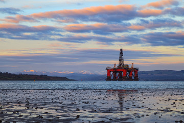 Semi Submersible Oil Rig at Cromarty Firth during Sunset Time