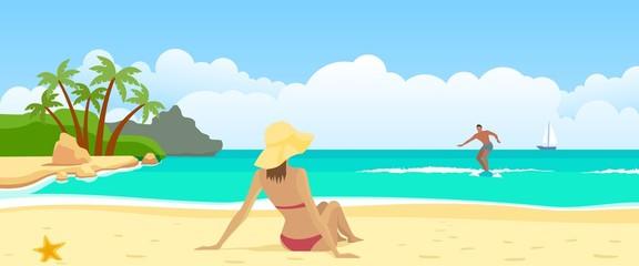 The woman sunbathing on the beach, the sea surfer