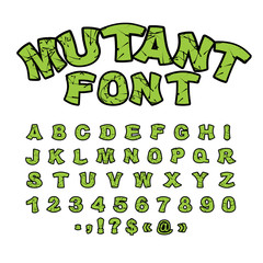 Mutant font. Green rough comic alphabet in style. Abstract ABC.