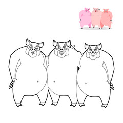 3 pig coloring book. Three Little Pigs in  linear style. Funny f