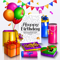 Happy birthday greeting card. Pile of colorful wrapped gift boxes. Party balloons, box of chocolates, bunting flag and confetti. Ornament paper for your text. Vector.