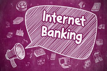 Internet Banking - Doodle Illustration on Purple Chalkboard.