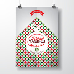 Vector Merry Christmas Holiday and Happy New Year illustration with typographic design and abstract color texture pattern on clean background.