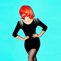 Hair Model. Retro hair style. Red Hair Color trend.