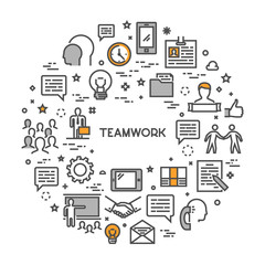 Vector line creative concept for teamwork