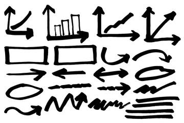 Doodle Arrow and cloud Marker set