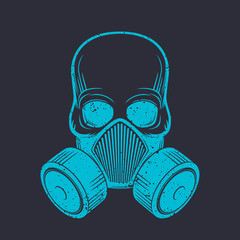 skull with respirator, gas mask, vector illustration